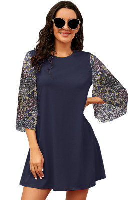 Blue Splicing Half Sleeve A-Line Dress