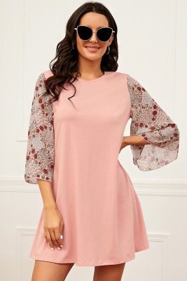 Pink Splicing Half Sleeve A-Line Dress