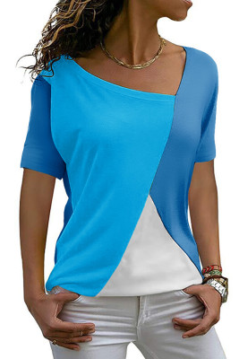 Blue Color Block Round Collar Short Sleeve Top