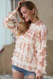 Brown Tie-Dye Crew Neck Tassel Sweater
