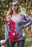 Pink V-Neck Splicing Pullover Long Sleeve Top