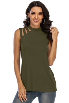 Army Green Round Neck Sleeveless Vest