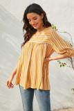 Yellow Strip V  Neck Half Sleeve Shirt