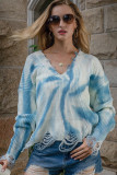 Blue Tie-Dye Printed V-Neck Tassel Knitted Sweater