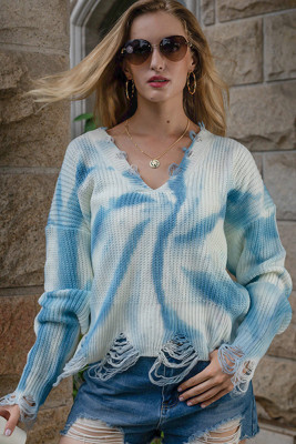 Blue Tie-Dye Printed V-Neck Tassel Knitted Sweater