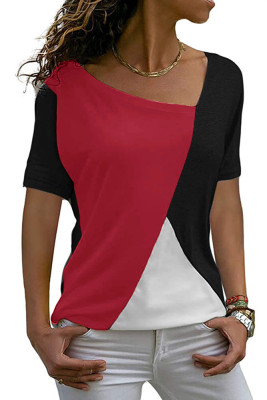 Red Color Block Round Collar Short Sleeve Top