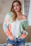 Green Tie-Dye Printed V-Neck Tassel Knitted Sweater