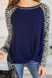 Navy Leopard Printed Long Sleeve Pullover Top With Knot