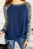 Blue Leopard Printed Long Sleeve Pullover Top With Knot