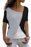 Gray Color Block Round Collar Short Sleeve Top