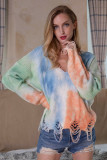 Multi-Colored Tie-Dye Printed V-Neck Tassel Knitted Sweater
