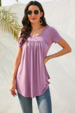 Purple Button Decoration Pleated Short Sleeve T-shirt