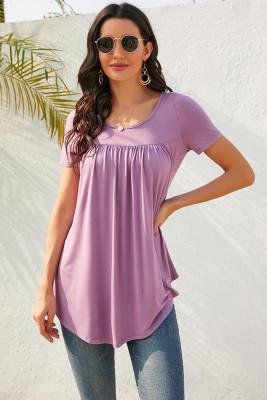 Purple Button Decoration Pleated Short Sleeve T-shirt