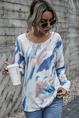 Blue Tie-Dye O-Neck Long Sleeve Top
