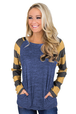 Fashion Striped Stitching Long Sleeve Pullover Top