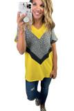 Summer Leopard Color Blocking Short Sleeve T-shirt