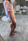 Summer Tie Dye Printed V-neck Short Sleeve T-shirt