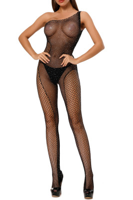 Sexy One Shoulder Mesh Fishnet Bodystockings