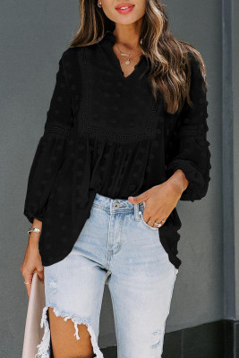 Black Ruffled Split Neck Lace Hollow Out Puff Sleeve Polka Dot Blouse