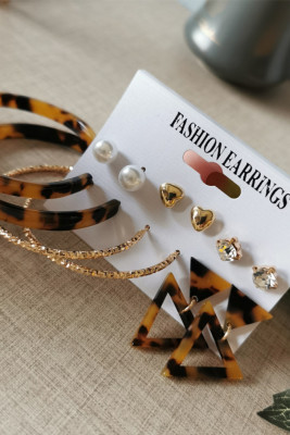 Leopard Heart  Diamond Oval Triangle 6 Sets Earrings