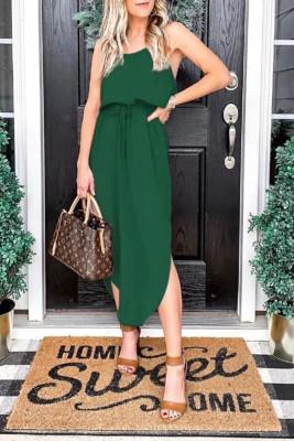 Green Suspender Split Dress