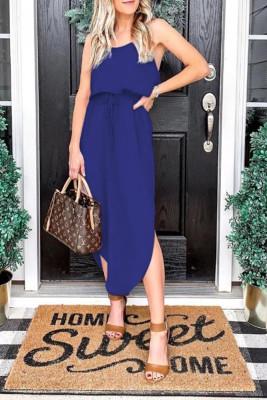 Blue Suspender Split Dress