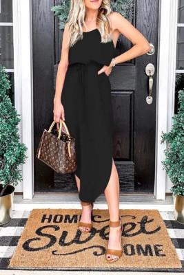Black  Suspender Split dress
