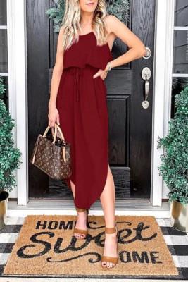 Wine Red  Suspender Split dress