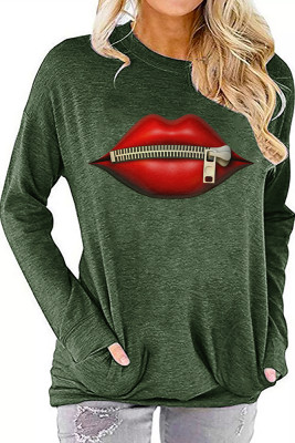 Army Green Printed Crew Neck With Pockets Long Sleeve Top