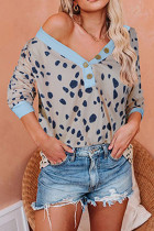 Casual Fashion Printed Deep V-neck Button Three Quarter Sleeve