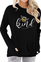 Black Printed Crew Neck With Pockets Long Sleeve Top