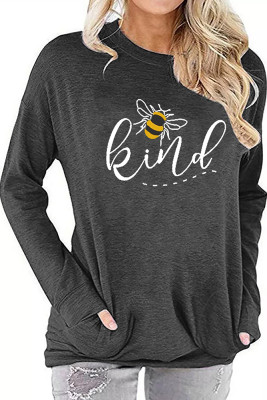 Gray Printed Crew Neck With Pockets Long Sleeve Top