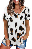 Leopard Printed Casual Loose Short Sleeve T-shirt