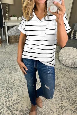 White Striped V-Neck Short Sleeve Top
