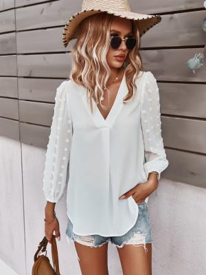 White Polka Dot  V-neck Long Sleeve Shirt