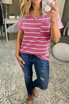 Rose Red Striped V-Neck Short Sleeve Top