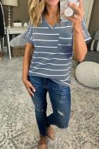 Blue Striped V-Neck Short Sleeve Top