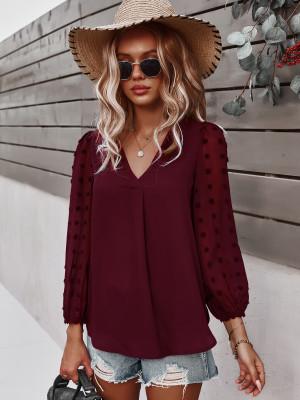 Wine Red Polka Dot  V-neck Long Sleeve Shirt