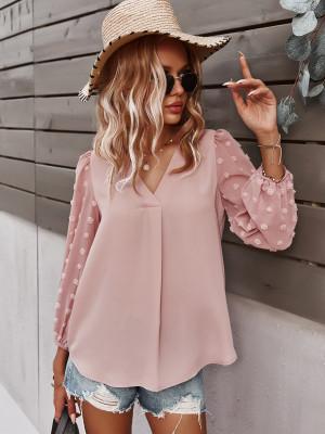 Pink Polka Dot  V-neck Long Sleeve Shirt
