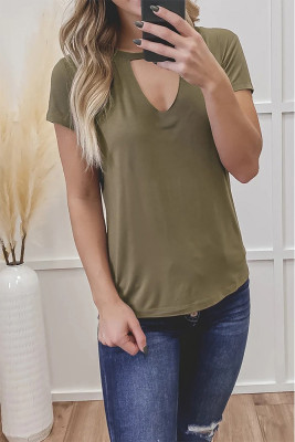 Army Green Hollow Out Short Sleeve Top