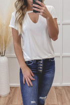 White Hollow Out Short Sleeve Top