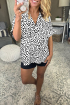 White Printed Polka Dot  V-neck Bat Sleeve Shirt