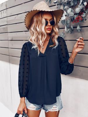 Dark Blue Polka Dot  V-neck Long Sleeve Shirt