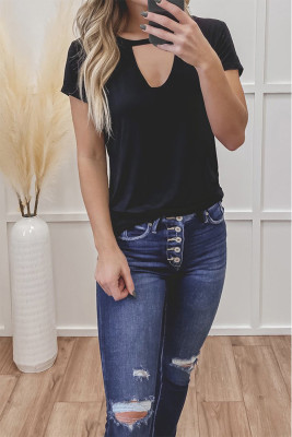 Black Hollow Out Short Sleeve Top