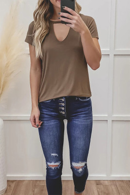 Brown Hollow Out Short Sleeve Top