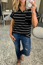 Black Striped V-Neck Short Sleeve Top