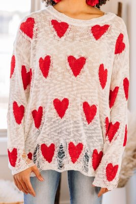 White Heart Shape Print Hollow Out Sweaters