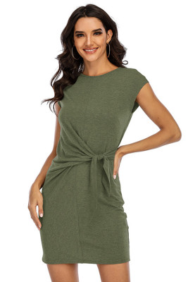 Army green Round Neck Short Sleeve Bandage Dress