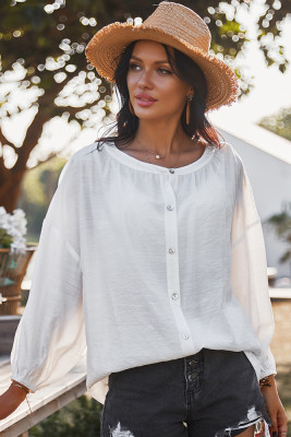White Round Collar Long Sleeve Shirt