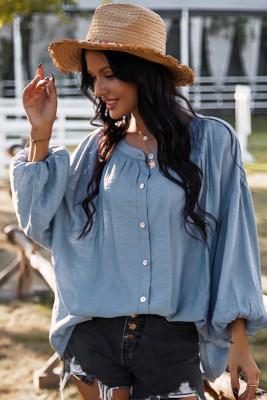 Blue Round Collar Long Sleeve Shirt